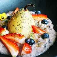 Poached Pear Porridge @ Wild Sage